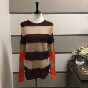 Indi & Cold Striped Open-Knit Sweater
